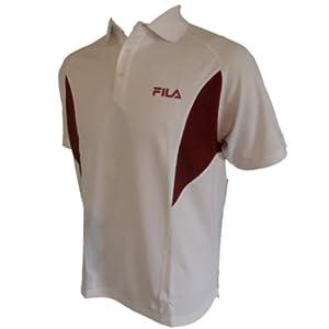Fila Mens Tennis Polo Shirt - White, Magliette (Medium - 40-42 Chest)