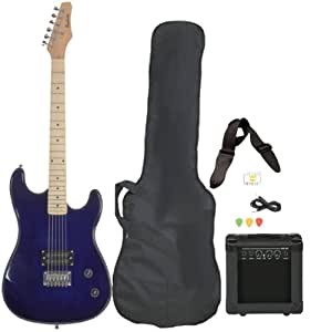 full size blue electric guitar with amp case and accessories pack beginner starter. Black Bedroom Furniture Sets. Home Design Ideas