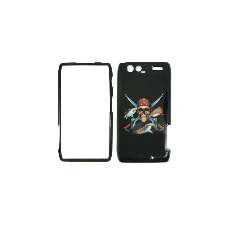 Motorola Razr Maxx XT916 Verizon   Pirate Skull Swords and Fish on Black Plastic Case, SnapOn, Protector, Cover