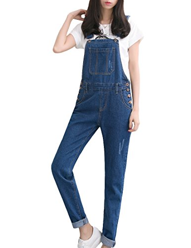 MFrannie Vintage Washed Ripped Slim Boyfriend Style Overall Pant 1