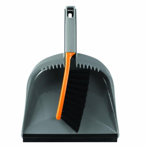 Casabella 1 Count Dustpan and Brush Set, Graphite/Orange (Broom Dustpan Set compare prices)