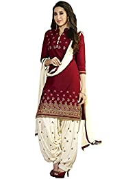 Aarvicouture Women's Cotton Salwar Suit Set (Ac-Dm-1245_Red_Free Size)