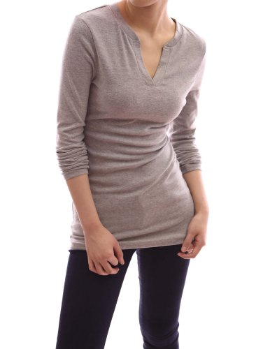 Pattyboutik V Neck Long Sleeve Stretch Pullover Fitted Casual Tunic Blouse Knit Top (Grey L) front-953902