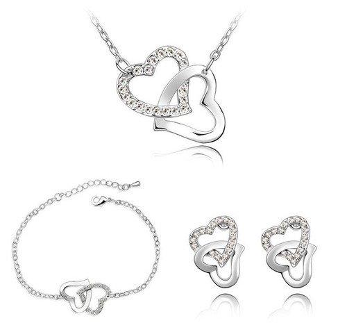 Klaritta Bridal White Crystal Rhienstones Hearts Jewellery Set Of Earrings Bracelet & Necklace F31SW