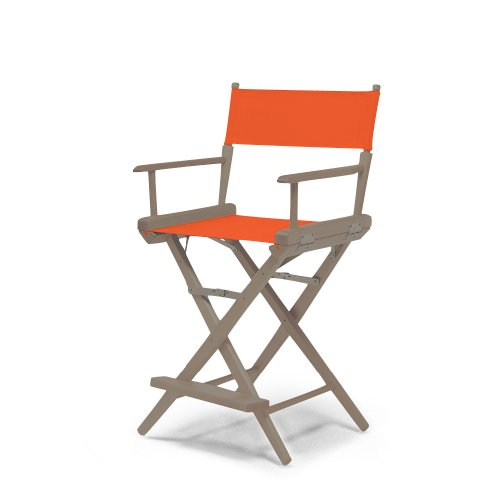 Telescope Casual World Famous Counter Height Director Chair, Rustic Grey With Orange Canvas Fabric
