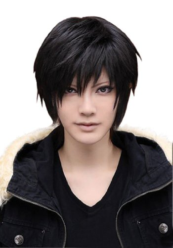 L-email Wig™ Men's Short Black Cosplay Wig Rw46