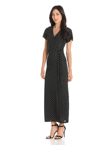 Star Vixen Women's Short Sleeve Faux Wrap Maxi, Black/White Dot, Large
