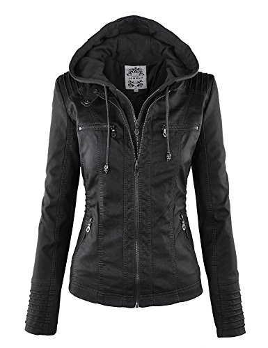 LL WJC663 Womens Removable Hoodie Motorcyle Jacket M BLACK (Faux Leather Removable Hood compare prices)