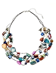 M&S Collection Assorted Shell Chip Multi-Row Necklace