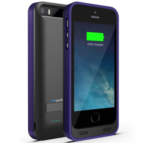 Maxboost Atomic S External Protective Iphone 5S Battery Case / Iphone 5 Battery Case With Built-In Kickstand - Matte Black / Purple (Apple Mfi Certified, Fits All Versions Of Iphone 5 / 5S - Lightning Connector Output, Microusb Input ) [100% Compatible Wi