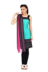 Parchayee Women's Green Printed Crepe Dress Material