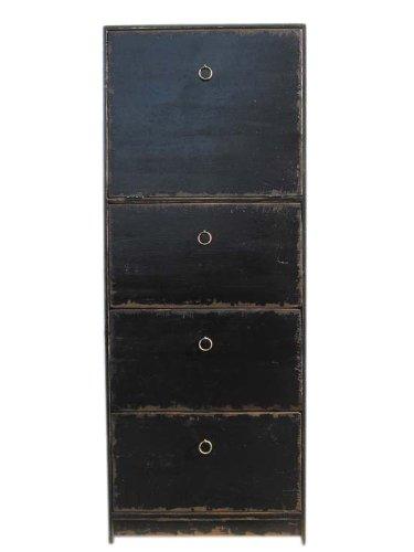 China hohe Kommode Schubladenturm 4 Schuebe Pinie schwarz lackiert