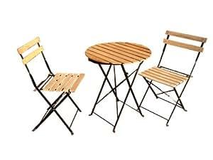 オシャレガーデンテーブル&チェアセット(木目) ガーデンファニチャー ベランダ 折りたたみ式