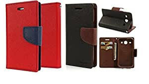 Generic 2 Mercury Dairy Flip Cover Combo For Samsung Galaxy S4 GT-i9500 Red With Brown