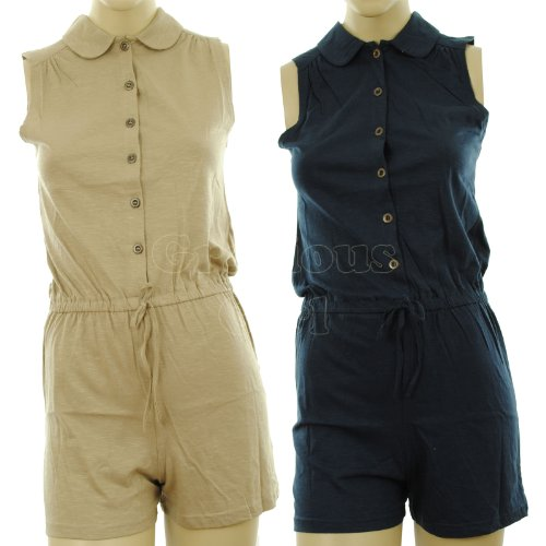 Mattie New Womens Collared Sleeveles Elasticated Button Fasten Ladies Playsuit