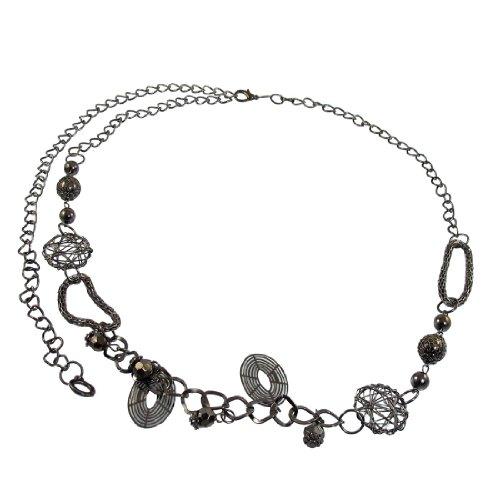 Allegra K Dark Gray Metal Hoops Multi String Link Waist Belt Chain for Ladies