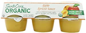 Santa Cruz Organic Apple Apricot Sauce, 6 Count, 4-Ounce Cups (Pack of 4)