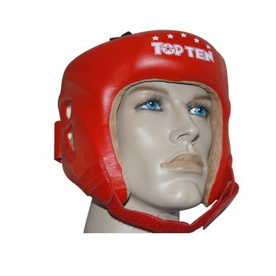 Top Ten Aiba Olympic Leather Boxing HeadGuard - Red Medium