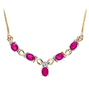 Collier - Femme - Or jaune (9 carats) - Diamant - Rubis 2.54 Cts