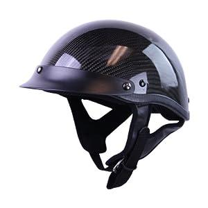 HCI Black Carbon Fiber Half Motorcycle Helmet