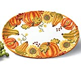 Large Thanksgiving Pumpkin and Sunflower Serving Platter Beautiful Autumn Dining Decor