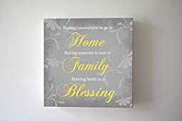 MuralMax - Home Family Blessing Quote - Stretched Canvas Wall Art - Make Your Wedding & Anniversary Gifts Memorable - Unique Wall Decor - Color - Gray - 30-DAY - Size - 40 x 40