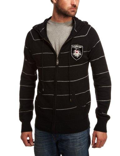 Ed Hardy LKS Patch Logo Knit Hoodie Mens Sweatshirt Black X-Large