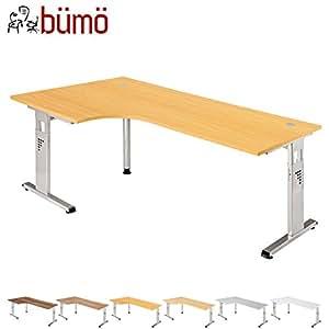 Bümö® Schreibtisch für das Büro   Bürotisch in 6 Dekoren & 7 Größen verfügbar   Büroschreibtisch (Buche, 120_x_200_cm)