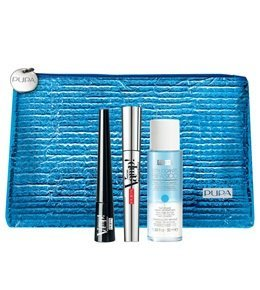 PUPA VAMP! KIT MASCARA WATERPROOF NERO + DEFINITION LINER WATERPROOF + MAKE-UP REMOVER BIFASICO ML.50 + POCHETTE
