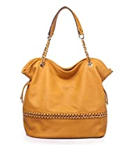 MKF Collection MANTHA Gold Woven Double Handle Tote Style Shoulder Handbag (Yellow)