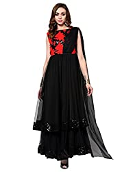Sleeveless Maxi Gowns for women & Girls western party Wear | Evening | Ceremony |Wedding |Black | Round Neck Embellished & Embroidered Net Dress
