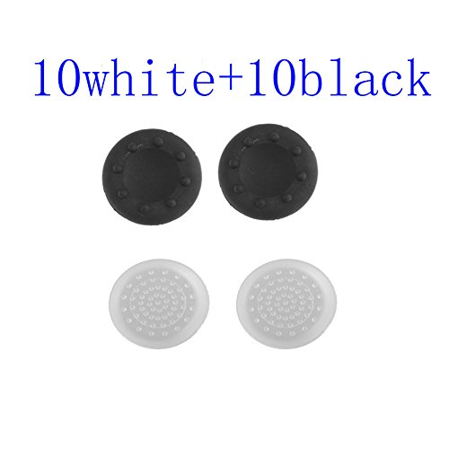20 X Silicone Analog Controller Thumb Stick Grips Cap Cover For Ps3 Xbox 360 Xbox One Game Accessories Replacement Parts-10 Black And 10 White front-559787