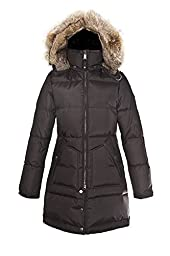 Pajar Women\'s Cougar Long Down Parka with Fur Hood, Black, X-Small