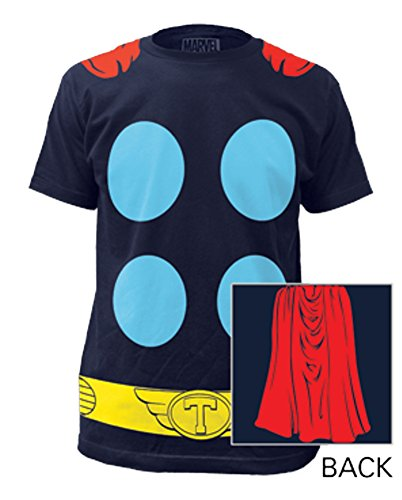 Thor Suit Front and Back With Cape Marvel Costume T-Shirt