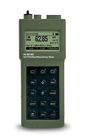 Hanna Instruments HI 98188 EC/Resistivity/TDS/NaCl Graphic Display Portable Meter, with USP