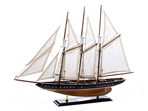 "Atlantic model ship - three-masted schooner - wood and fabric sails - 2'4"" (71cm)"