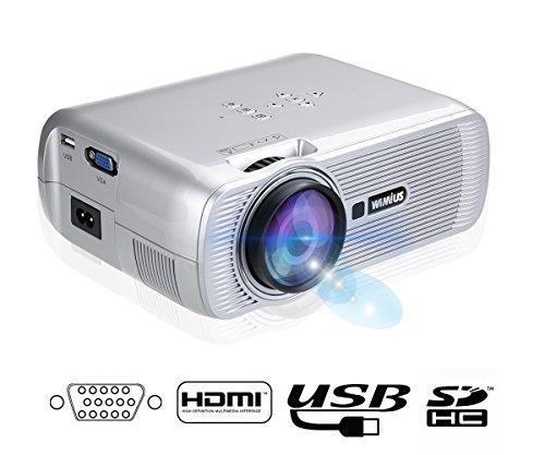 WiMiUS T2 Mini Projecteur Vidéoprojecteur Portable HD LED 1200 Lumens Home Cinéma Multimédia (Argent)