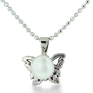 Butterfly Shaped Pendant With Freshwater Natural White 7.5-8mm Round Pearl, 18 Inches Long