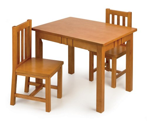 tot tutors kidsu0027 table and chair set mission style wood
