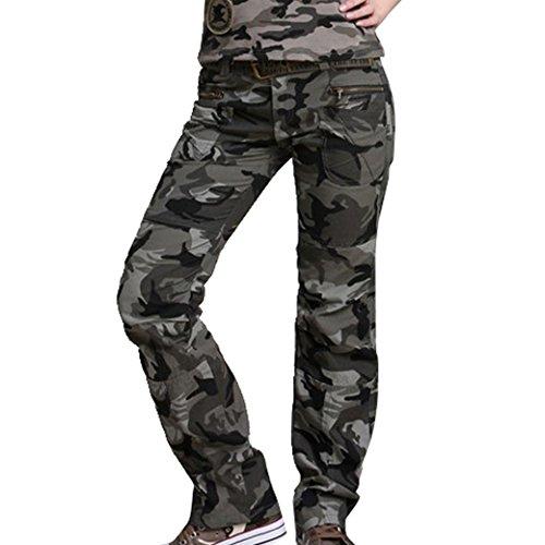 Tangda-Pantalone mimetico militare cotone esercito Camo Jogging, da donna, con kit Casual lavoro, cintura, taglia 40-46, colore: rosso nel caso di cinture di sicurezza