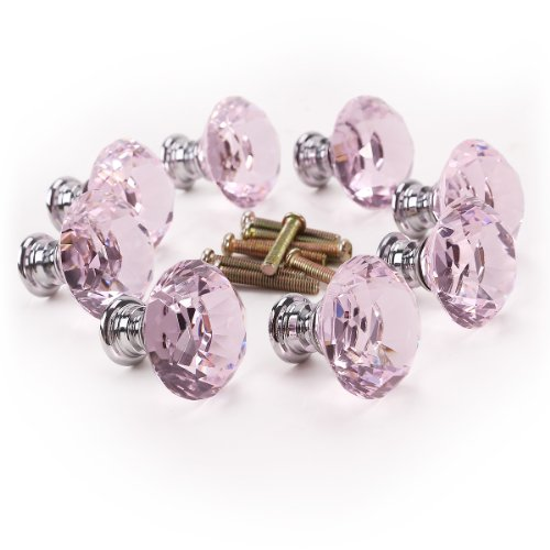 8 x 30mm Diamond Clear Cut Pink Crystal Glass Door Knobs Kitchen Cabinet Drawer Handle New