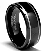 8MM Dome Laser Etched Black Tungsten Ring Wedding Band Size 7.5