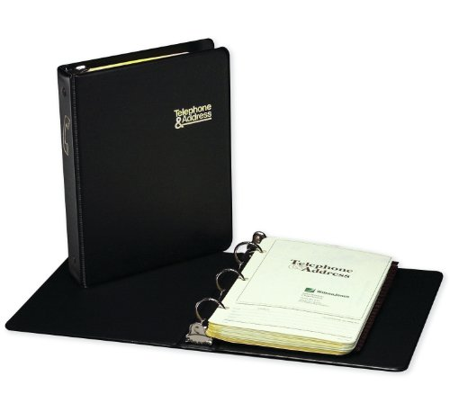 Wilson Jones 812 Telephone Address Book, Round Ring, 1-Inch, 1600 Entries, A-Z Index, Black (W812)