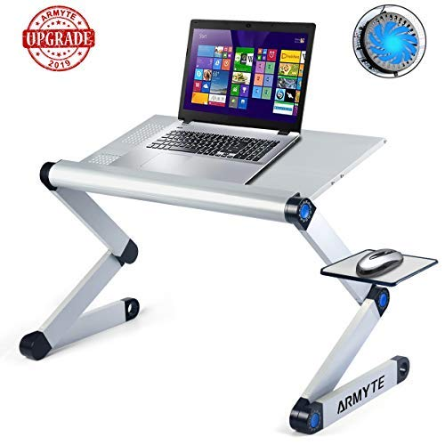 Adjustable Laptop Stand, (2019 Ultra-Large, Upgraded Sturdier) Foldable Aluminum Laptop Desk/Table, Portable Laptop Stand for Bed/Sofa with Large Cooling Fan & Mouse Pad Side as Gift, Silver (Color: Sliver)