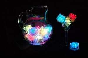 Twelve (12) Litecubes® Flashing LED Multi-Color Freezable Ice Cubes / Rocks