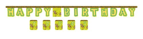Creative Converting Monkeyin' Around Jointed Birthday Banner with Customizable Year Stickers