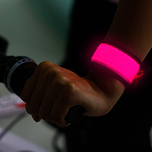 BSeen (TM), Glow bracelet, Led bracelet, Illuminated bracelet armband, On off switch, Battery replaceable, For Kids, Cyclist, runners, High Visibility, Water Resistant (Pink)