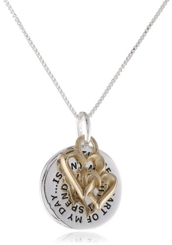 """Sterling Silver and Gold over Sterling Silver """"The Best Part of My Day Is Any Minute I Spend with U. I Love You"""" with Heart Charm Reversible Pendant Necklace, 18″"""