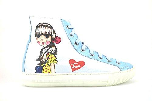 scarpe donna BRACCIALINI sneakers celeste pelle AH367 (35 EU)