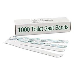 Bagcraft Papercon Sani/Shield Printed Toilet Seat Band, Paper, Blue/White, 16\